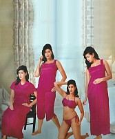6-Piece Set Of Purple Satin Nightwear