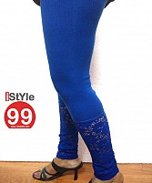 Stretchable Lace/Net bottom leggings - Blue