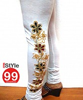 Fancy Stretchable Embroidered Cotton Legging- White