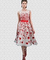 Designer White & Red Colour Semi Stitched Western Wear