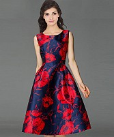 Designer Blue & Red Colour Semi Stitched Taffeta Silk Western Wear