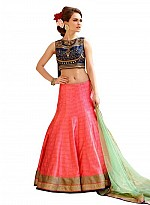 vandvshop Embroidered Navy Blue And Peach Lehegha Choli