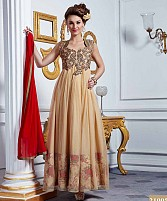 LATEST DESIGNER HEAVY CREAM PARTYWEAR GOWN