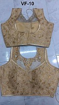 Panchi Golden Banglori Silk Embroidered Stitched Blouse