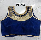 Panchi Blue Banglori Silk Embroidered Stitched Blouse