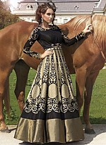 vandv New Heavy Designer Black & Beige Anarkali Suit