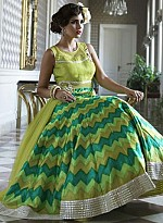vandv Latest Lime Green Bhagalpuri Digital Print Anarkali Suit