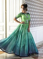vandv New Lime Green & Aqua Pure Bhagalpuri Gown Style Anarkali Suit