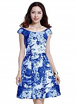 Vandvshop Blue New Stylish Rayon Printed Western Dress