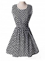 Vandvshop New Black & Cream Cotton Checks Printed Western Dress