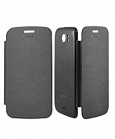 Black Flip Cover for Micromax Canvas 2 A110