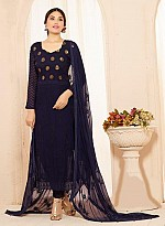 Designer Dark Blue Nazneen Chiffon Dress Material