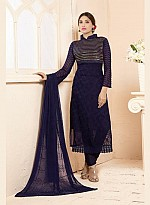 Latest Dark Blue Nazneen Chiffon Designer Dress Material