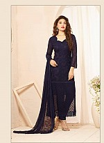 Latest Dark Blue Nazneen Chiffon Dress Material