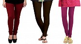 Cotton Brown,Dark Brown and Dark Pink Color Leggings Combo