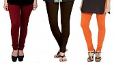 Cotton Brown,Dark Brown and Orange Color Leggings Combo