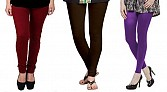 Cotton Brown,Dark Brown and Purple Color Leggings Combo