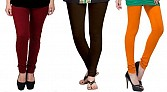 Cotton Brown,Dark Brown and Dark Orange Color Leggings Combo