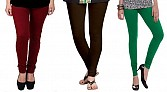Cotton Brown,Dark Brown and Dark Green Color Leggings Combo