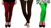 Cotton Brown,Dark Brown and Light Green Color Leggings Combo