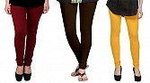 Cotton Brown,Dark Brown and Yellow Color Leggings Combo