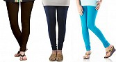 Cotton Dark Brown,Dark Blue and Sky Blue Color Leggings Combo