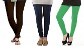 Cotton Dark Brown,Dark Blue and Green Color Leggings Combo