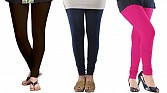 Cotton Dark Brown,Dark Blue and Pink Color Leggings Combo