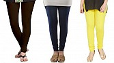 Cotton Dark Brown,Dark Blue and Light Yellow Color Leggings Combo