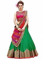 New Pink And Green Baglori Silk Lehenga Choli