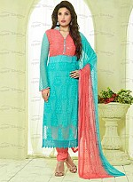New Aqua & Peach Nazneen Chiffon Designer Dress Material