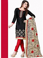 vandv New Black & Red Pure Cotton Dress Material