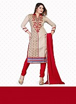 New Cream & Red Chanderi Jacquard Dress Material