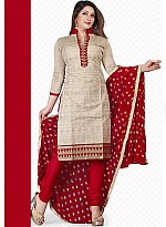 New Cream & Red Pure Chanderi Dress Material