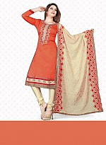 New Orange & Cream Pure Chanderi Dress Material