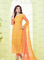 New Orange & Red Nazneen Chiffon Designer Dress Material