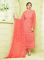 New Pink Nazneen Chiffon Designer Dress Material