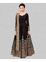 New Black Long Embrodered Semi Stitched Designer Anarkali Suit