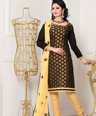 Chanderi Cotton Embroidered Salwar Suit Buy Rs.629.00