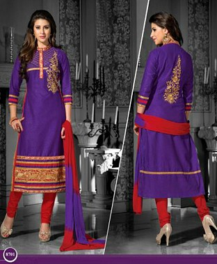 Embroidered  Designer Cotton Suit @ Rs400.00