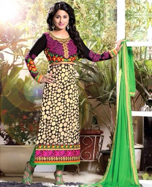 Designer Geogrette Printed & Embroidery Suit@ Rs.1544.00