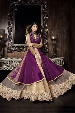 Purple semi stitched slik lehenga suit salwar kameez@ Rs.1360.00