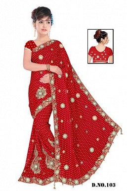Red Designer Sarees @ Rs2471.00