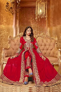 Red Semi Stitched Net Anarkali Salwar Suit @ Rs1484.00