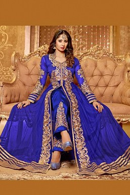 Blue Semi Stitched Net Anarkali Salwar Suit @ Rs1484.00
