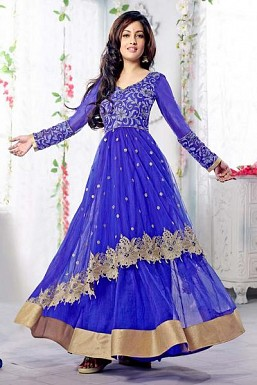 Blue Semi Stitched Net Anarkali Salwar Suit @ Rs1669.00