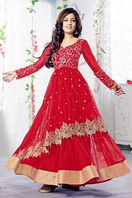 Red Semi Stitched Net Anarkali Salwar Suit@ Rs.1669.00