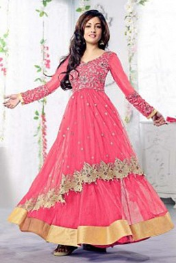 Pink Semi Stitched Net Anarkali Salwar Suit@ Rs.1669.00