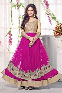 Pink Semi Stitched Net Anarkali Salwar Suit @ Rs1669.00