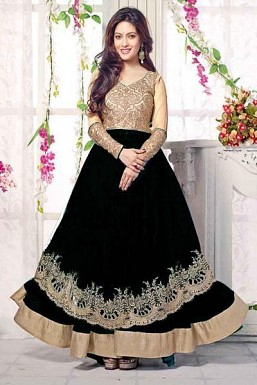Black Semi Stitched Net Anarkali Salwar Suit@ Rs.1669.00